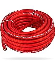 InstallGear 4 Gauge Red 25ft Power/Ground Wire - OFC (99.9% Oxygen-Free Copper)