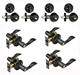 Dynasty Hardware CP-HER-12P, Heritage Front Door Entry Lever Lockset and Single Cylinder Deadbolt Combination Set, Aged Oil Rubbed (4 Pack) Keyed Alike