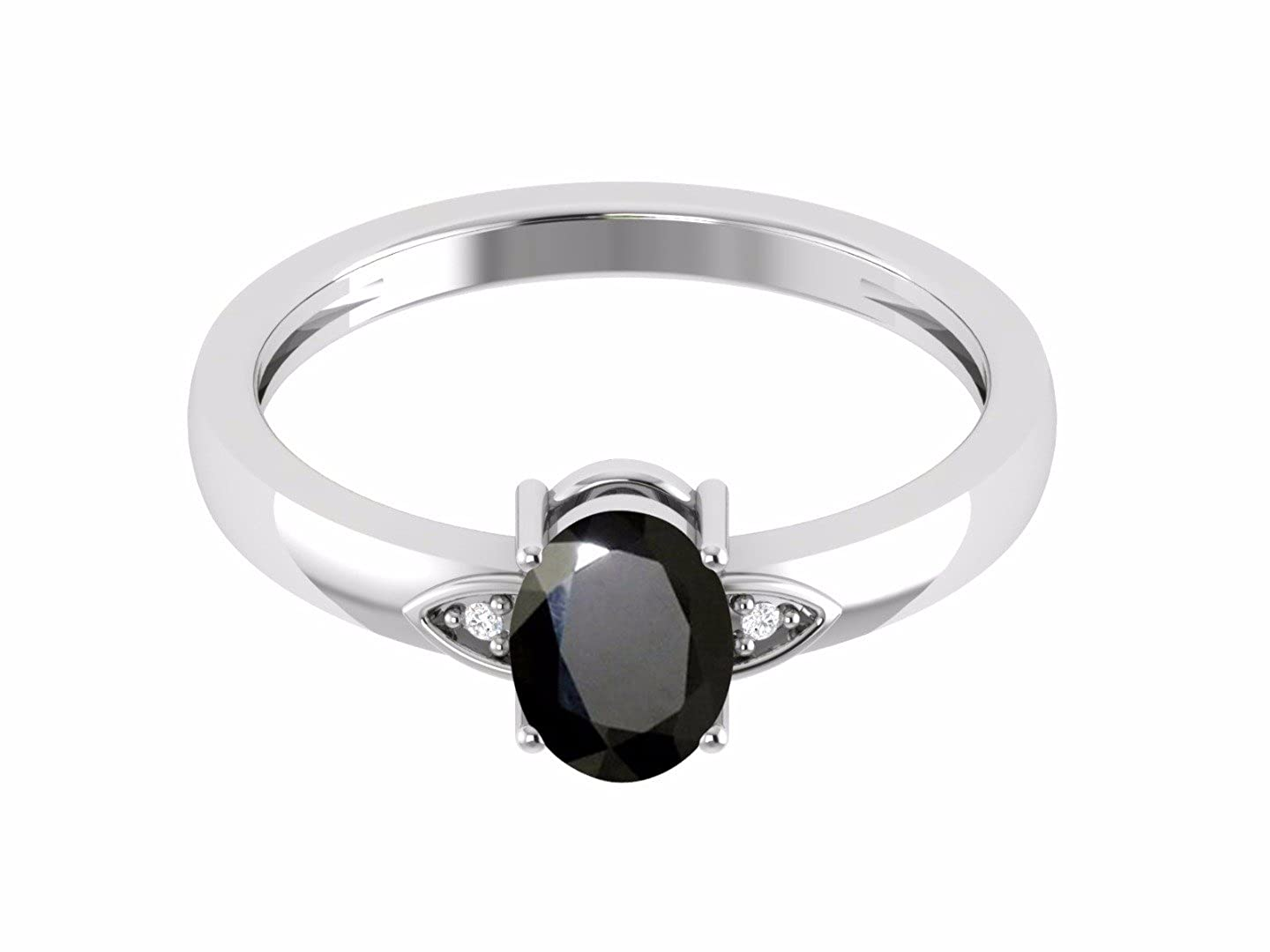 Black Spinel Gemstone 925 Sterling Silver Solitaire Stackable Band Wedding Ring
