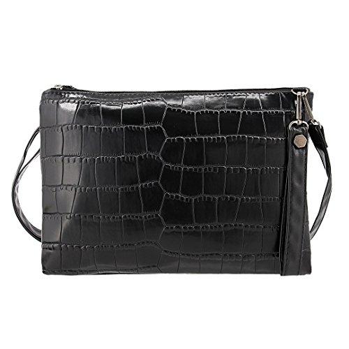Bag Black Purse Shiny Women Candice Handbag Envelope Leather PU Party Evening Shoulder Elegant xPFw0wqS7