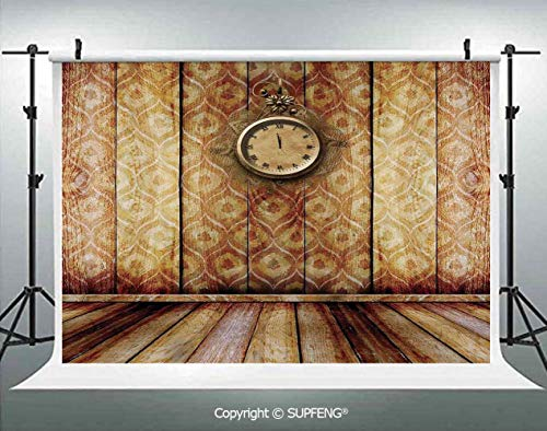 Baseball Theme Wall Clock - Background Antique Clock on Medieval Style Wall Wooden Floor Classic Architecture Theme Art 3D Backdrops for Interior Decoration Photo Studio Props