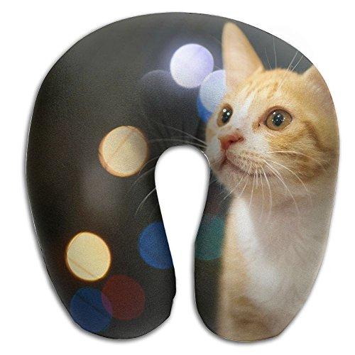 Hai Ni Memory Foam Neck Pillow Cushion Cute Orange Cat Kitten Comfy Soft U-Shape Cervical Pillow Head Support For Travel Office Home Sleeping