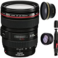 Canon 24-105mm L Lens (WHITE BOX) + High Definition Wide Angle Auxiliary Lens + High Definition Telephoto Auxiliary Lens + Deluxe Lens Cleaning Pen