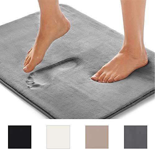 GORILLA GRIP Original Thick Memory Foam Bath Rug (24x17) Cushioned Extra Soft Floor Rug Mats, Absorbent Bathroom Mat Rugs, Machine Wash + Dry, Luxury Plush Comfortable Carpet Bath Room (Dark Gray)
