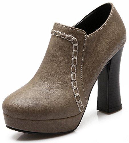 Trendy Pumps Zipper Summerwhisper Boots Chunky Toe Women's Side Round Ankle Platform Green Heel High 5v6q64HBw