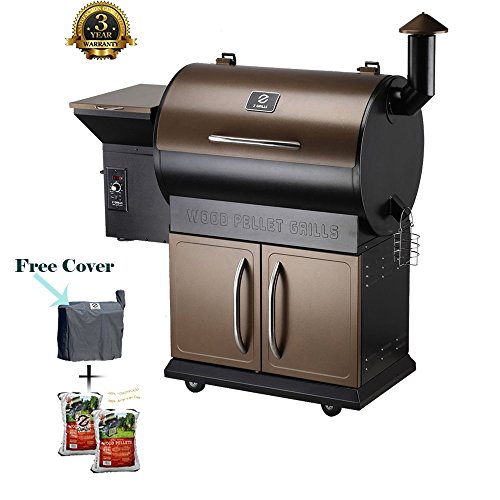 Wood Pellet Grill & Smoker with Patio Cover,700 Cooking Area 7 in 1- Electric Digital Controls Grill for Outdoor BBQ Smoke, Roast, Bake, Braise and BBQ with Storage Cabinet (Free 2 Wood Pellets) by Z GRILLS