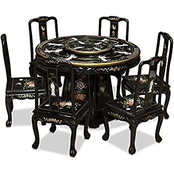 Ordinaire China Furniture Online Black Lacquer Dining Table, Mother Pearl Lady Motif  48 Inches Round Dining
