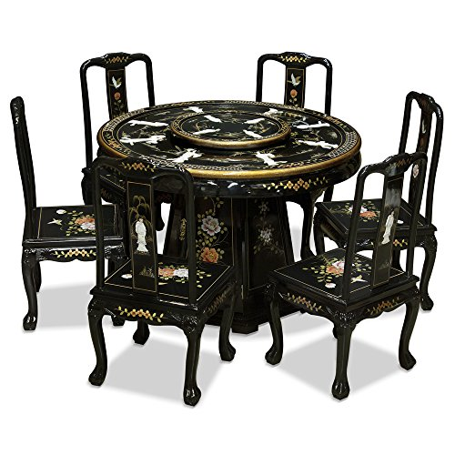 ChinaFurnitureOnline Black Lacquer Dining Table, Mother Pearl Lady Motif 48 Inches Round Dining Set with 6 Chairs Black