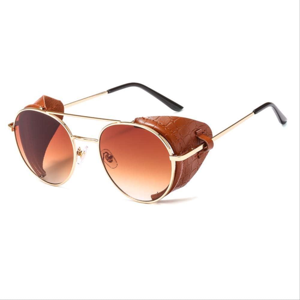 XJJSZJ Gafas de Sol Gafas de Sol de protección Lateral Unisex de Metal con Montura Redonda Redonda de Cuero para Hombres Mujeres