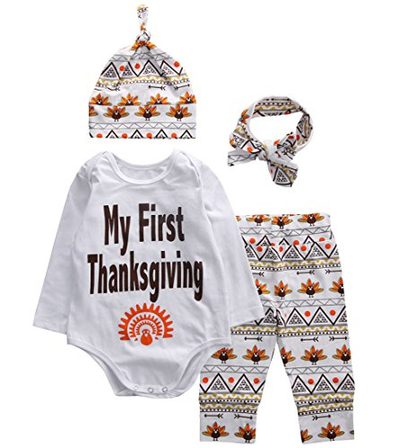 Baby Boys Girls My First Thanksgiving Romper Bodysuit and Turkeys Pants Outfit with Hat and Headband (70(3-6M), (70 Outfit)