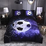 Tenghe 3D Football Print Duvet Cover Sets for Teen Boys Sports Bedding Sets Soccer Ball Bed Cover Full Twin Queen King Size (Blue,Twin)