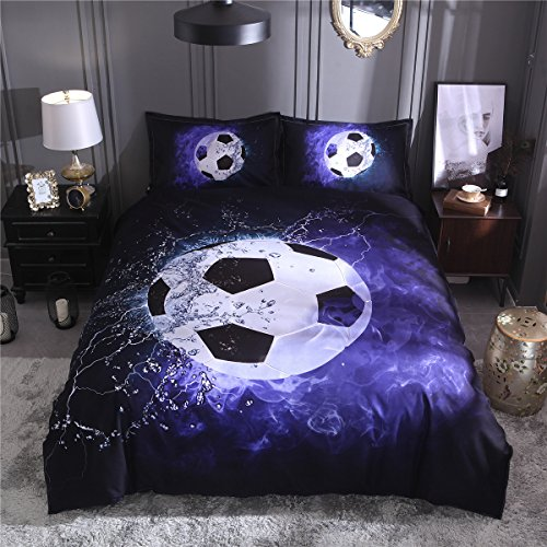 Tenghe 3D Football Print Duvet Cover Sets for Teen Boys Sports Bedding Sets Soccer Ball Bed Cover Full Twin Queen King Size (Blue,Twin) by Tenghe
