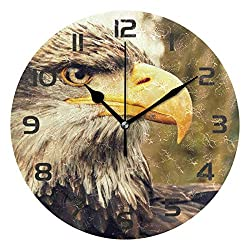 Dozili Animal Eagles Bird Decorative Wooden Round Wall Clock Arabic Numerals Design Non Ticking Wall Clock Large for Bedrooms, Living Room, Bathroom