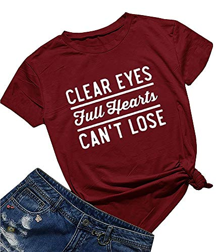 Friday Night Lights Clear Eyes Full Hearts Can't Lose Women Summer T Shirt Tops Graphic Tees Burgundy