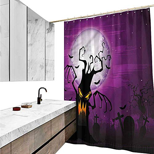 Jiahong Pan Halloween,Shower Curtain Collection Human Face and Twiggy Arm for Bathtub Showers,Multicolor,W36 xL72