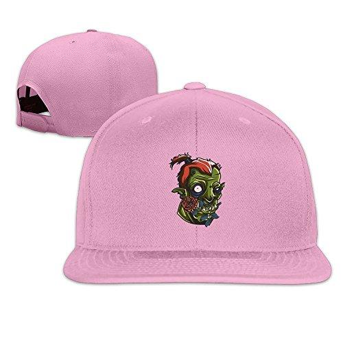 Runy Custom Flower Skull Adjustable Baseball Hat & Cap Pink