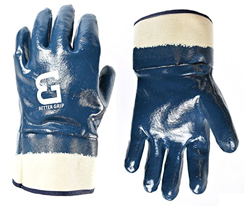 (Better Grip BG105NITRILE-12 Heavy Duty Premium Nitrile Rubber Fully Coated Gloves with Safety Cuffs, Smooth, Blue, Chemical Resistant, Large (12 Pair))