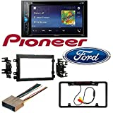"""2004-2016 Ford F250/350/450/550 Pioneer AVH-200EX 2-Din 6.2"""" DVD/CD/iPhone/Android/Bluetooth Car License Plate Rearview Camera - Black CAM810B"""