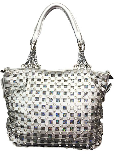 Zzfab Premium Classic Net Bling Handbag Silver