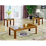 Coaster Occasional Casual Three-Piece Table Set with Parquet Top, Oak