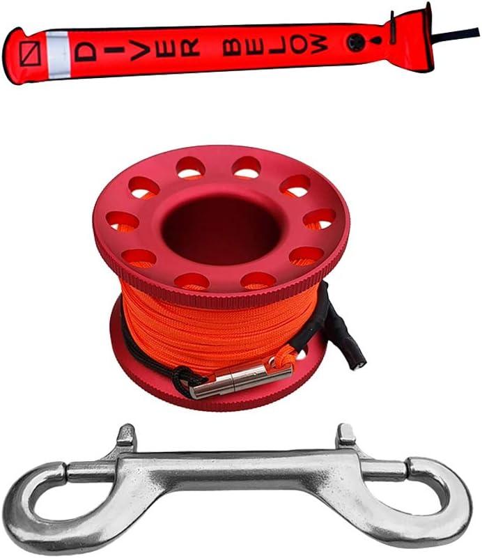 IPOTCH Tubo Reflecante para Boya de Marcador de Superficie con Carrete para Buceo Accesorio para Entrenamiento de Buceo Esn/órquel