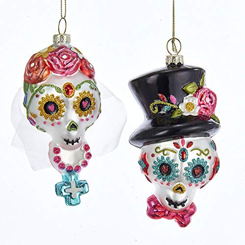 Kurt Adler Bride Groom Colorful Glitter 5 x 3 Glass Day The Dead Ornaments Set of 2]()