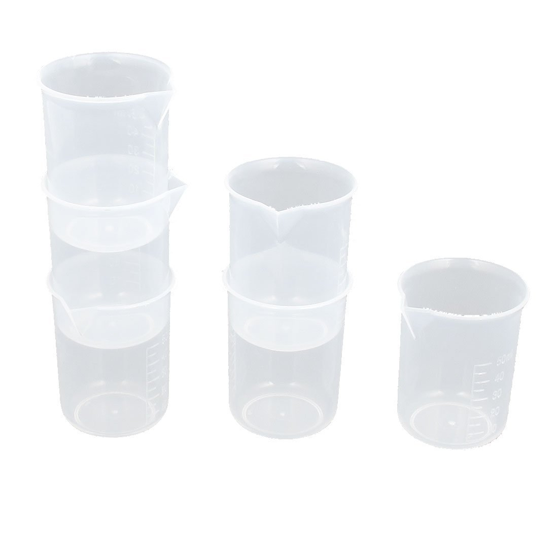 sourcingmap® Plastic Lab Graduated Liquid Measuring Beaker Testing Cup 50mL 6pcs a15101600ux0168