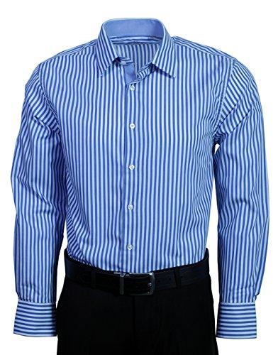 Mens Classic Shirt Stripe (Berlioni Men's Regular Convertible Cuff Classic Stripes Comfort Fit Dress Shirts-Blue WHITE/STRIPE-2XL (18-18½) Sleeve 36/37)