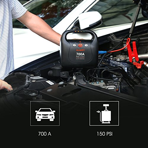 SUAOKI Jump Starter 700 Peak Amps 150 PSI Air Compressor Power Pack (Up to 6.0L Gas 5.0L Diesel Engines) by SUAOKI (Image #7)