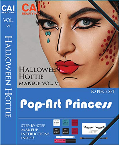 10-Piece Makeup Set Halloween Hottie Costume FX Face Paint Make Up Kit for Adults, Pop-Art Princess -