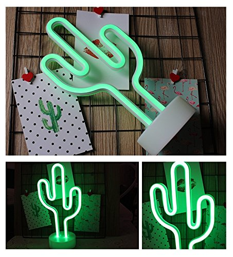 Neon Cactus Indoor Night Light with Holder, LoveNite Glowing Neon Decorative Sign Light for Room Party Festival Decorations by LoveNite (Image #4)'