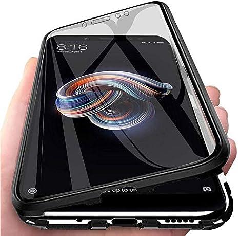 Negro Funda para Xiaomi Mi 6X//Mi A2 Carcasa Adsorci/ón Magn/ética Parachoques de Metal con 360 Grados Protecci/ón Case Transparente Ambos Lados Vidrio Templado Cubierta Cover