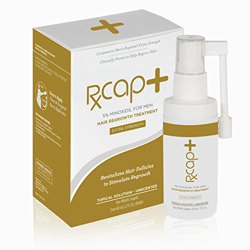Extra Strength Topical Solution (RXCap+ 5% Minoxidil Hair Regrowth Treatment For Men - Extra Strength - One Month Supply - Unscented - Topical Solution)