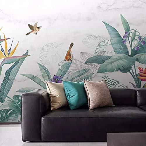 Murals,Custom 4D Wallpaper Plant Series Tropical Plant Flower Flying Bird Leaf Art Print Wall Painting Hd Print Poster For Living Room Tv Backdrop Bedroom Hotel Decor Large Silk Mural 200Cm(H)×300Cm(
