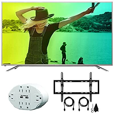 "Sharp Aquos N7000 50"" Class 4K Ultra WiFi Smart LED HDTV (50N7000U) Xtreme 6 Outlet Wall Tap w/ 2 USB Ports White & Deco Mount Flat & Tilt Wall Mount Kit Ultimate Bundle for 32-60 inch TVs"