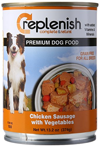 Replenish Canned Dog Food, Chicken Sausage W/Vegtables (Pack of 12 13.2-Ounce Cans) by Replenish Pet