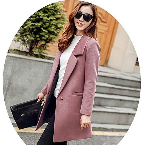 Casual Azw Donna Di Chiaro Solido Femminile Sottile Cappotto Moda E rosa Autunno Donna Lana Giacca Abbigliamento Top Delle Da Inverno Donne Colore xl rxt67qw1ar