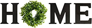 Huinsh Home Letter Decorative Sign Wall Hanging Wooden Home Signs with Green Wreath Flower (Black)