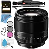 Fujifilm XF 56mm f/1.2 R Lens 16418649 + 62mm 3 Piece Filter Kit + 64GB SDXC Card + Lens Pen Cleaner + Fibercloth + Lens Capkeeper + 70in Monopod + Deluxe Cleaning Kit Bundle