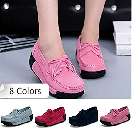 eb8b3721afd moahhally 8 Colors Size 35-40 Women Casual Suede Leather Walking Shoes  Wedge Shake Shoes