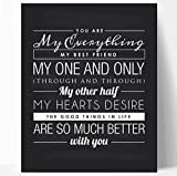 You Are My Everything Quote Print, Perfect Wedding, Anniversary or Valentines Gift, Chalkboard Style Ready to Hang (8x10)