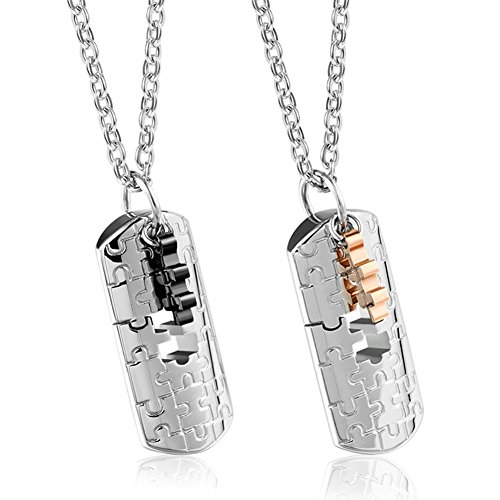 RareLove Couples Pendant Necklace 2pcs Stainless Steel Black Rose Gold Puzzle Matching Square Tag