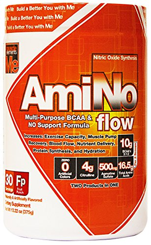 Muscle Elements Amino Flow, Multi-Purpose BCAA & Nitric Oxide Booster for Muscle Fullness, Endurance and Protein Synthesis, Fruit Punch, 30 Serving