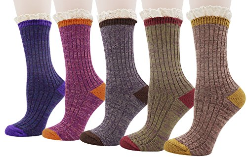 Womens Ladys 5 Pack Crochet Lace Trim Cotton Knit Socks, Multi Color 1, One Size (Socks Crochet)