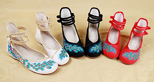 Walking Women's Shoes Casual THSGRT Red Style1 Peacock Chinese Flats Shoe Embroidered PwxZw