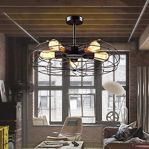 BAYCHEER HL371436 Industrial Vintage style 110V Semi Flush Mount Ceiling Light Metal Hanging Fixture Pendant lighting for indoor, use 5 E26 Light Bulbs, Black