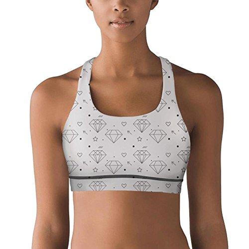 Yujn Kdjahd womens ladies Jogging bra Diamond heart Pattern-01 Ultra Soft Yoga Bra tank tops