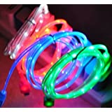 CCKING 3 peces !Illuminated USB Charging Cable Cord for Android System Smartphone, Samsung Galaxy S6 S7 EDGE ,HTC ,SONY,LG(Blue & Green & Red)