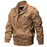 WEEN CHARM Men's Military Cotton Jacket Casual Outdoor Coat with Shoulder Straps