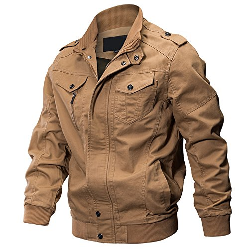 WEEN CHARM Men's Military Jacket Casual Cotton Outdoor Windbreaker Jacket 4 Pocket Military Jacket